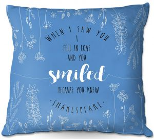 Decorative Outdoor Patio Pillow Cushion | Zara Martina - When I Saw You Blue | Wedding Love