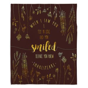Decorative Fleece Throw Blankets | Zara Martina - When I Saw You Chocolate Gold | Wedding Love