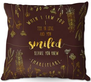 Decorative Outdoor Patio Pillow Cushion | Zara Martina - When I Saw You Chocolate Gold | Wedding Love