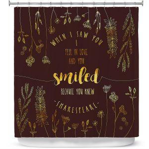 Premium Shower Curtains | Zara Martina - When I Saw You Chocolate Gold | Wedding Love