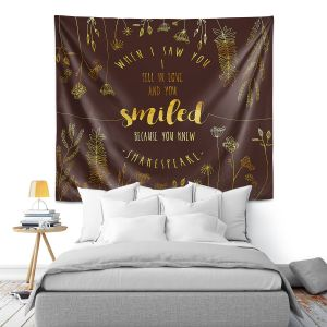 Artistic Wall Tapestry | Zara Martina - When I Saw You Chocolate Gold | Wedding Love
