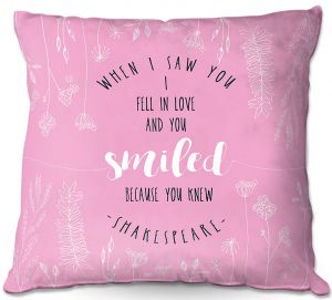 Decorative Outdoor Patio Pillow Cushion | Zara Martina - When I Saw You Pink | Wedding Love