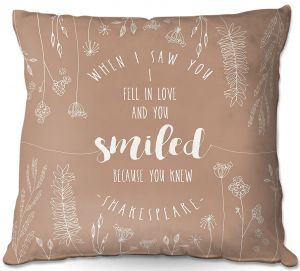 Decorative Outdoor Patio Pillow Cushion | Zara Martina - When I Saw You Tan | Wedding Love