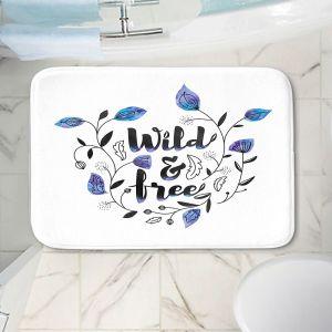 Decorative Bathroom Mats | Zara Martina - Wild and Free Blue | Inspiring Typography
