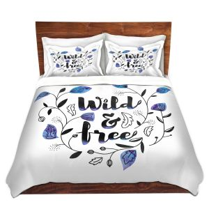Artistic Duvet Covers and Shams Bedding | Zara Martina - Wild and Free Blue | Inspiring Typography
