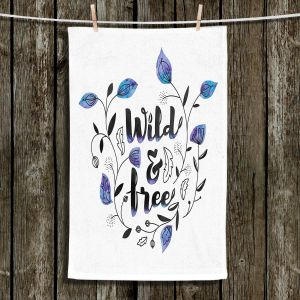 Unique Hanging Tea Towels | Zara Martina - Wild and Free Blue | Inspiring Typography