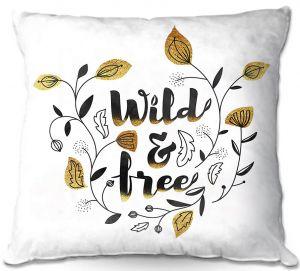 Throw Pillows Decorative Artistic | Zara Martina - Wild and Free Gold | Inspiring Typography