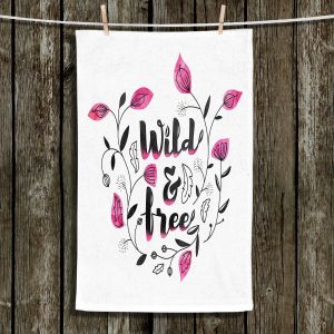 Unique Hanging Tea Towels | Zara Martina - Wild and Free Pink | Inspiring Typography