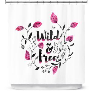 Premium Shower Curtains | Zara Martina - Wild and Free Pink | Inspiring Typography