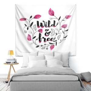 Artistic Wall Tapestry | Zara Martina - Wild and Free Pink | Inspiring Typography