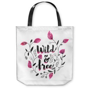 Unique Shoulder Bag Tote Bags | Zara Martina - Wild and Free Pink | Inspiring Typography