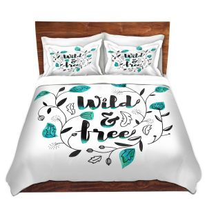 Artistic Duvet Covers and Shams Bedding | Zara Martina - Wild and Free Teal | Inspiring Typography