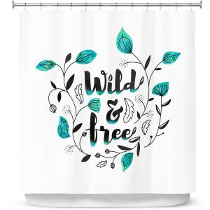 Premium Shower Curtains | Zara Martina - Wild and Free Teal | Inspiring Typography