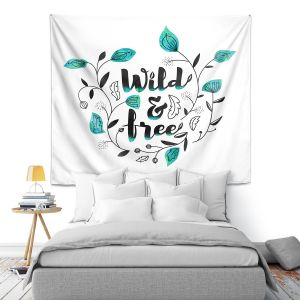 Artistic Wall Tapestry   Zara Martina - Wild and Free Teal   Inspiring Typography