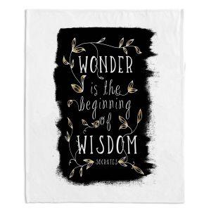 Artistic Sherpa Pile Blankets | Zara Martina - Wonder is Wisdom Black Gold | Inspiring Typography