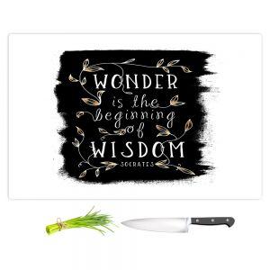Artistic Kitchen Bar Cutting Boards | Zara Martina - Wonder is Wisdom Black Gold | Inspiring Typography