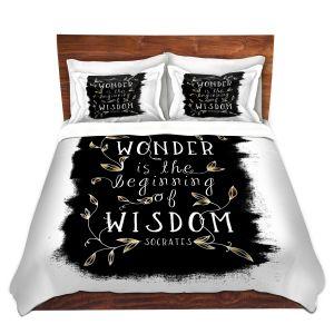 Artistic Duvet Covers and Shams Bedding | Zara Martina - Wonder is Wisdom Black Gold | Inspiring Typography