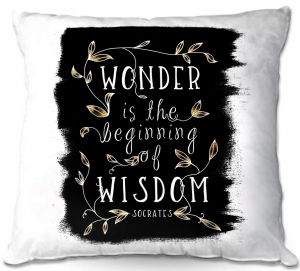 Decorative Outdoor Patio Pillow Cushion | Zara Martina - Wonder is Wisdom Black Gold | Inspiring Typography