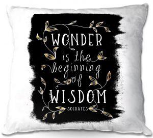 Decorative Outdoor Patio Pillow Cushion   Zara Martina - Wonder is Wisdom Black Gold   Inspiring Typography
