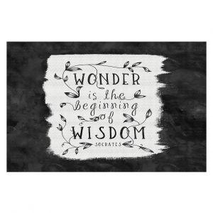 Decorative Floor Coverings | Zara Martina - Wonder is Wisdom Black White | Inspiring Typography
