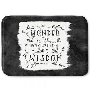 Decorative Bathroom Mats | Zara Martina - Wonder is Wisdom Black White | Inspiring Typography