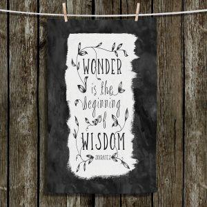 Unique Bathroom Towels | Zara Martina - Wonder is Wisdom Black White | Inspiring Typography