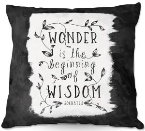 Throw Pillows Decorative Artistic | Zara Martina - Wonder is Wisdom Black White | Inspiring Typography