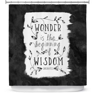 Premium Shower Curtains   Zara Martina - Wonder is Wisdom Black White   Inspiring Typography