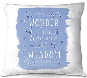 Decorative Outdoor Patio Pillow Cushion | Zara Martina - Wonder is Wisdom Blue | Inspiring Typography
