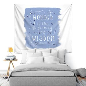 Artistic Wall Tapestry   Zara Martina - Wonder is Wisdom Blue   Inspiring Typography