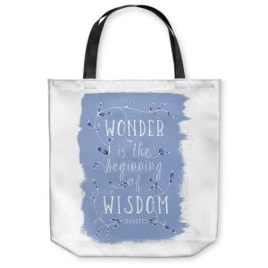 Unique Shoulder Bag Tote Bags | Zara Martina - Wonder is Wisdom Blue | Inspiring Typography