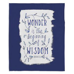 Decorative Fleece Throw Blankets | Zara Martina - Wonder is Wisdom Navy | Inspiring Typography