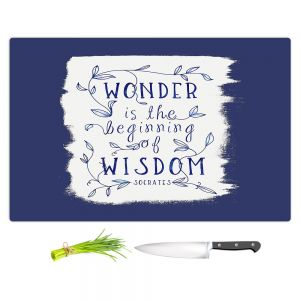 Artistic Kitchen Bar Cutting Boards | Zara Martina - Wonder is Wisdom Navy | Inspiring Typography