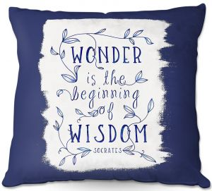 Decorative Outdoor Patio Pillow Cushion | Zara Martina - Wonder is Wisdom Navy | Inspiring Typography