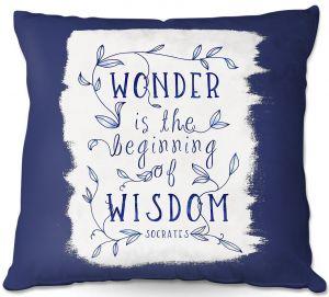 Throw Pillows Decorative Artistic | Zara Martina - Wonder is Wisdom Navy | Inspiring Typography