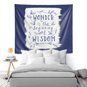 Artistic Wall Tapestry | Zara Martina - Wonder is Wisdom Navy | Inspiring Typography