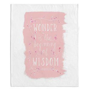 Decorative Fleece Throw Blankets | Zara Martina - Wonder is Wisdom Rose | Inspiring Typography