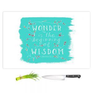 Artistic Kitchen Bar Cutting Boards | Zara Martina - Wonder is Wisdom Turquoise | Inspiring Typography