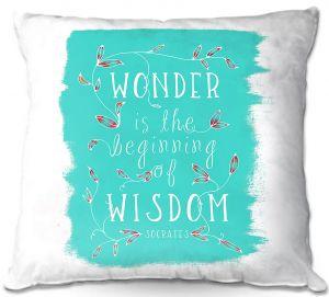 Throw Pillows Decorative Artistic   Zara Martina - Wonder is Wisdom Turquoise   Inspiring Typography