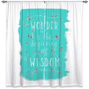 Decorative Window Treatments | Zara Martina - Wonder is Wisdom Turquoise | Inspiring Typography