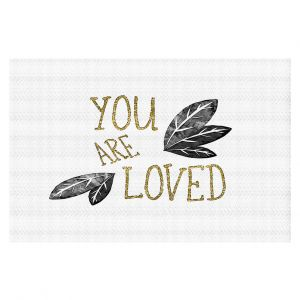 Decorative Floor Coverings | Zara Martina - You Are Loved Gold Black Leaves | Love Leaves Inspiring Wedding