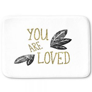 Decorative Bathroom Mats | Zara Martina - You Are Loved Gold Black Leaves | Love Leaves Inspiring Wedding