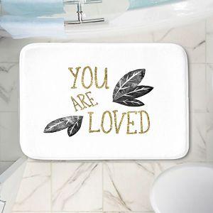 Decorative Bathroom Mats | Zara Martina - You Are Loved Gold Black Leaves | Love Leaves Inspiring Wedding