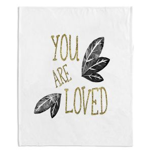Decorative Fleece Throw Blankets | Zara Martina - You Are Loved Gold Black Leaves | Love Leaves Inspiring Wedding