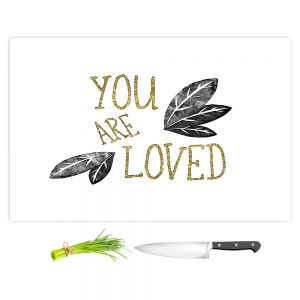 Artistic Kitchen Bar Cutting Boards | Zara Martina - You Are Loved Gold Black Leaves | Love Leaves Inspiring Wedding