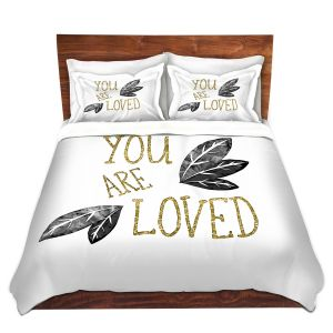 Artistic Duvet Covers and Shams Bedding | Zara Martina - You Are Loved Gold Black Leaves | Love Leaves Inspiring Wedding