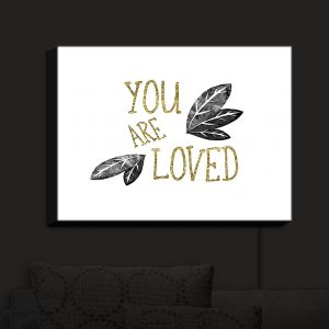 Nightlight Sconce Canvas Light | Zara Martina - You Are Loved Gold Black Leaves