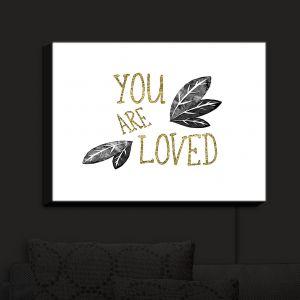 Nightlight Sconce Canvas Light | Zara Martina - You Are Loved Gold Black Leaves