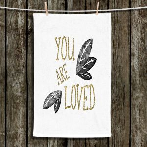 Unique Hanging Tea Towels | Zara Martina - You Are Loved Gold Black Leaves | Love Leaves Inspiring Wedding
