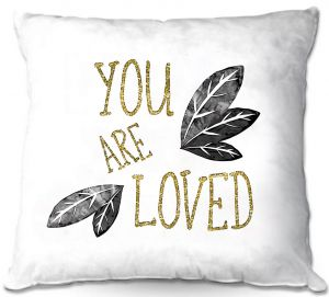 Decorative Outdoor Patio Pillow Cushion   Zara Martina - You Are Loved Gold Black Leaves   Love Leaves Inspiring Wedding